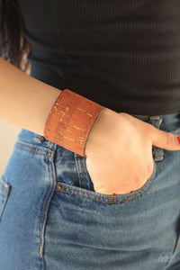 Paparazzi Jewelry & Accessories - Up To Scratch - Orange Cork Cuff Bracelet. Bling By Titia Boutique