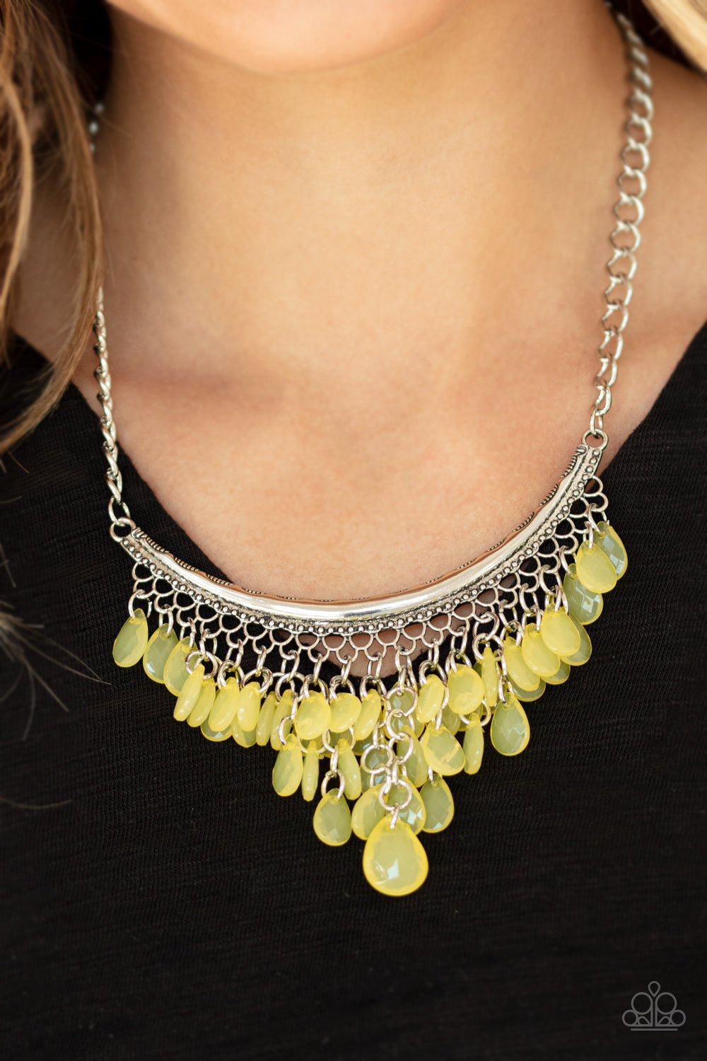 Paparazzi Jewelry & Accessories - Rio Rainfall - Yellow Necklace. Bling By Titia Boutique