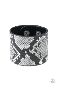 Paparazzi Jewelry & Accessories - The Rest is HISS-tory - Silver Python Print Bracelet. Bling By Titia Boutique
