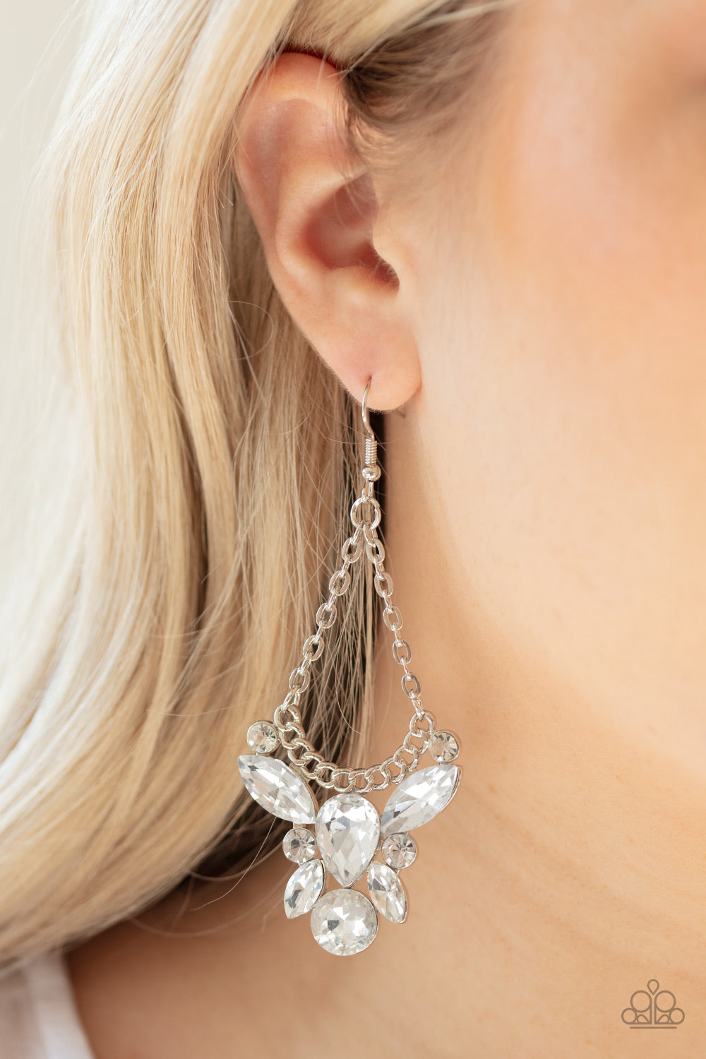 Paparazzi Jewelry & Accessories Blilng Bouquets teardrop marquise white rhinestone earrings. Bling By Titia