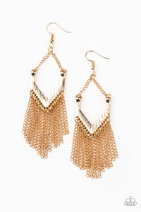 Paparazzi Accessories - Unchained Fashion - Gold Fringe Bead Earrings