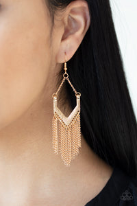 Paparazzi Jewelry & Accessories - Unchained Fashion - Gold Fringe Bead Earrings. Bling By Titia Boutique