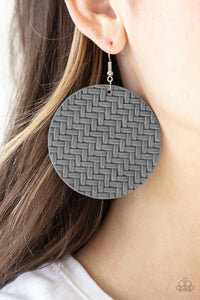 Paparazzi Accessories - Plaited Plains - Silver Earrings