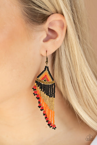 Rainbow Winds Black, Brown, Orange, Red, Brass Seed Bead Earrings - Paparazzi Accessories. Bling By Titia