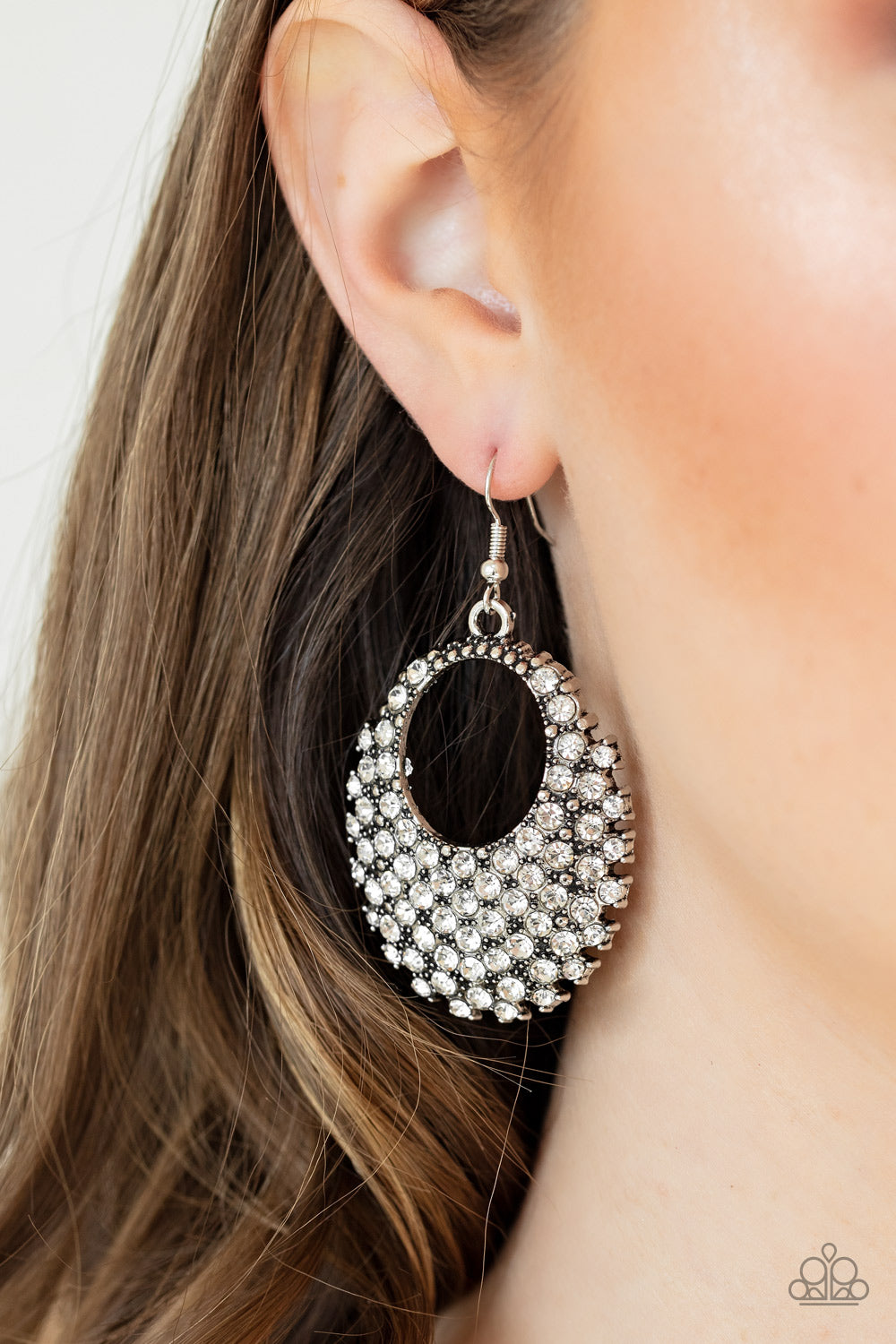 Paparazzi Jewelry & Accessories Fierce Flash White Rhinestones Earrings. Bling By Titia