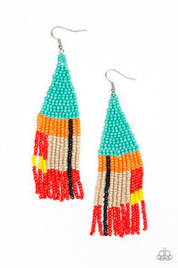 Paparazzi Accessories - Beaded Boho - Blue Earrings