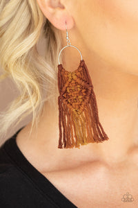 Paparazzi Jewelry & Accessories - Macrame Rainbow - Brown Earrings. Bling By Titia Boutique