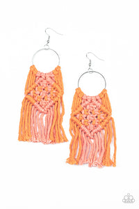 Paparazzi Jewelry & Accessories - Macrame Rainbow - Orange Earrings. Bling By Titia Boutique