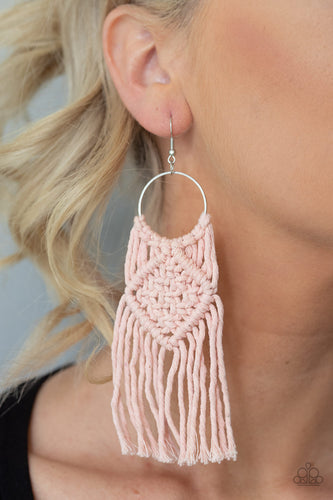 Paparazzi Jewelry & Accessories - Macrame Rainbow - Pink Earrings. Bling By Titia Boutique