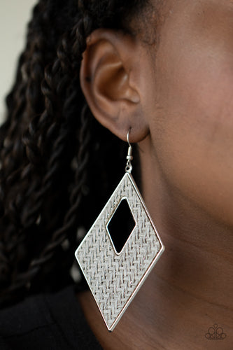 Paparazzi Jewelry & Accessories - Woven Wanderer - Silver Earrings. Bling By Titia Boutique