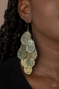 Paparazzi Jewelry & Accessories - Hibiscus Harmony - Brass Earrings. Bling By Titia Boutique