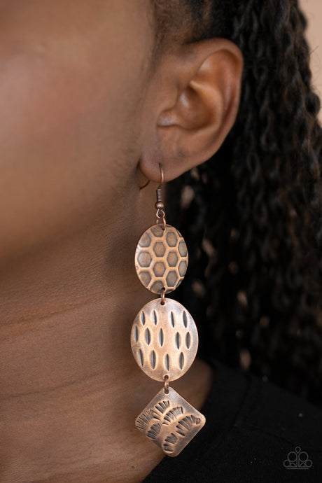 Paparazzi Jewelry & Accessories - Mixed Movement - Copper Earrings. Bling By Titia Boutique