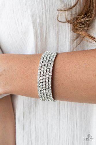 Paparazzi Jewelry & Accessories - The GLOW Digger - White Bracelet. Bling By Titia Boutique