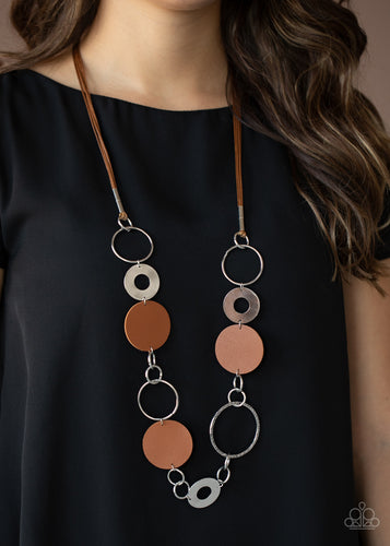 Paparazzi Jewelry & Accessories - Sooner or LEATHER - Brown Necklace. Bling By Titia Boutique