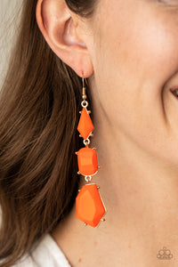 Paparazzi Jewelry & Accessories - Geo Getaway - Orange Earrings. Bling By Titia Boutique