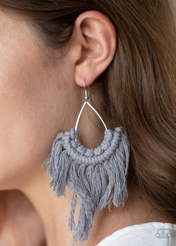 Paparazzi Jewelry & Accessories - Wanna Piece Of MACRAME? - Silver Earrings. Bling By Titia Boutique