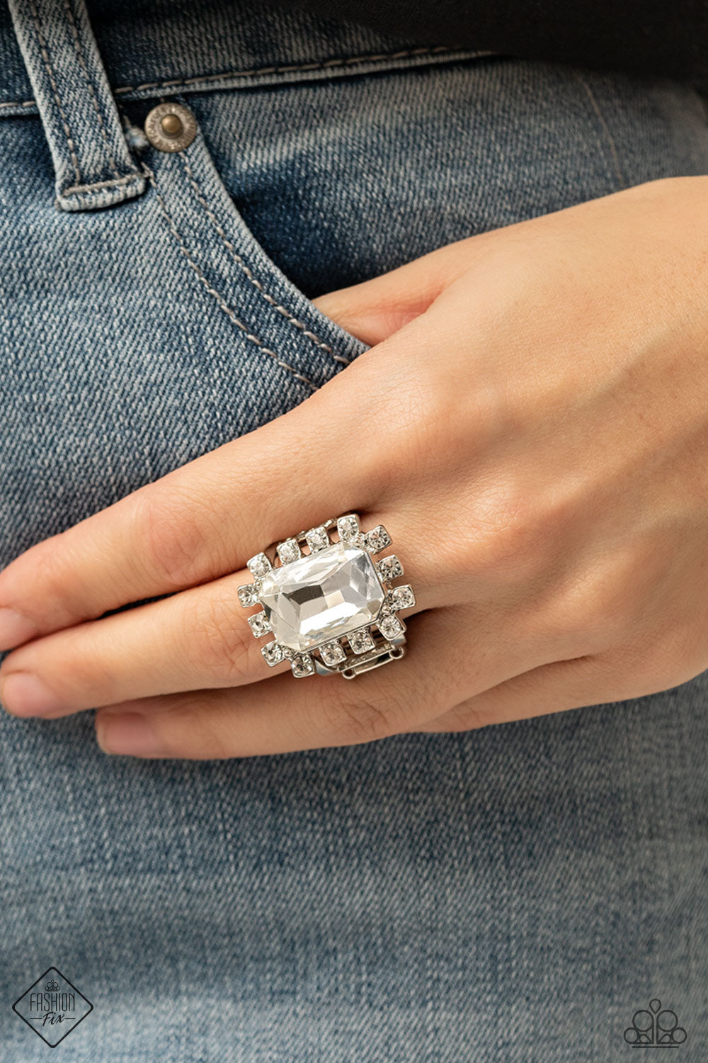 Paparazzi Jewelry & Accessories - Galactic Glamour - White Ring. Bling By Titia Boutique