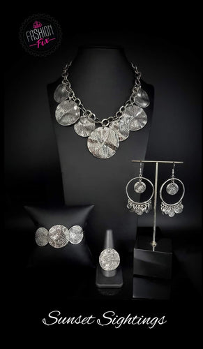Paparazzi Jewelry & Accessories - Sunset Sightings Silver thick disc necklace set - June 2020. Bling By Titia Boutique