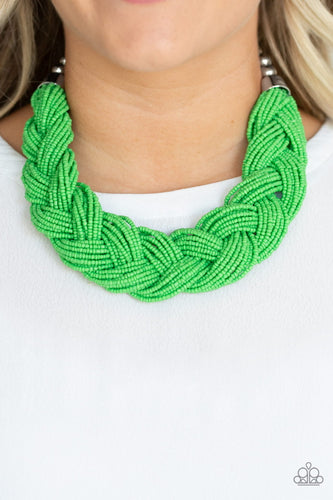 Paparazzi Jewelry & Accessories - The Great Outback - Green Seed Bead Necklace. Bling By Titia Boutique