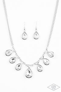 Love at Fierce Sight - Silver White Rhinestone Paparazzi Jewelry Necklace paparazzi accessories jewelry Necklaces