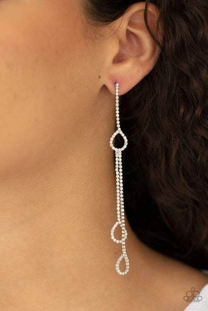 Paparazzi Jewelry & Accessories- Chance of REIGN -White Rhinestone Dangle Earrings. Bling By Titia