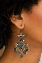 Load image into Gallery viewer, Unexplored Lands - Brass Paparazzi Jewelry Earrings paparazzi accessories jewelry earrings