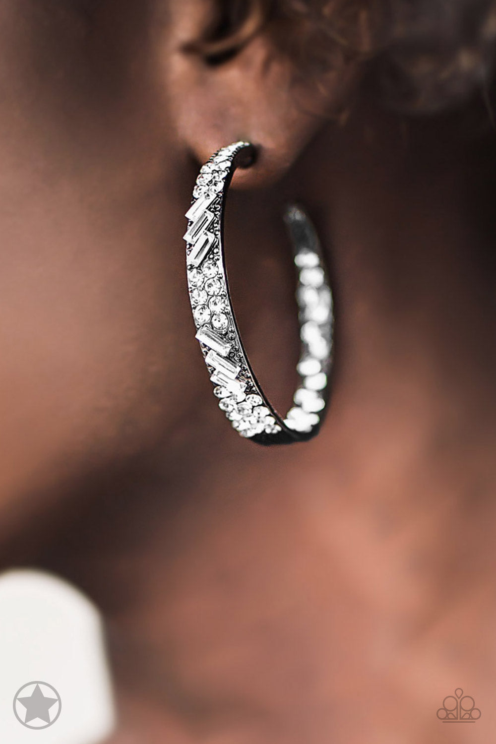 Paparazzi Jewelry & Accessories Glitzy By Association Gunmetal and white rhinestone Blockbuster Earrings. Bling By Titia