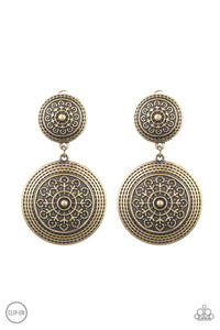Paparazzi Jewelry & Accessories - Magnificent Medallions - Brass Clip-on Earrings. Bling By Titia