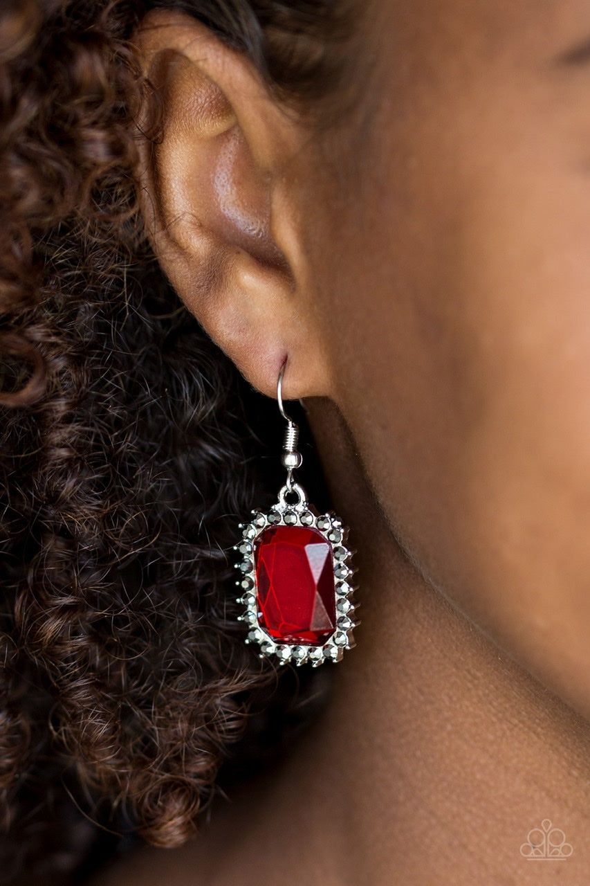 Paparazzi Jewelry & Accessories - Downtown Dapper - Red Rhinestone Earrings. Bling By Titia Boutique