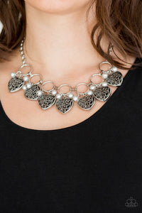 Very Valentine - Silver Heart Pearls Paparazzi Jewelry Necklace paparazzi accessories jewelry Necklaces