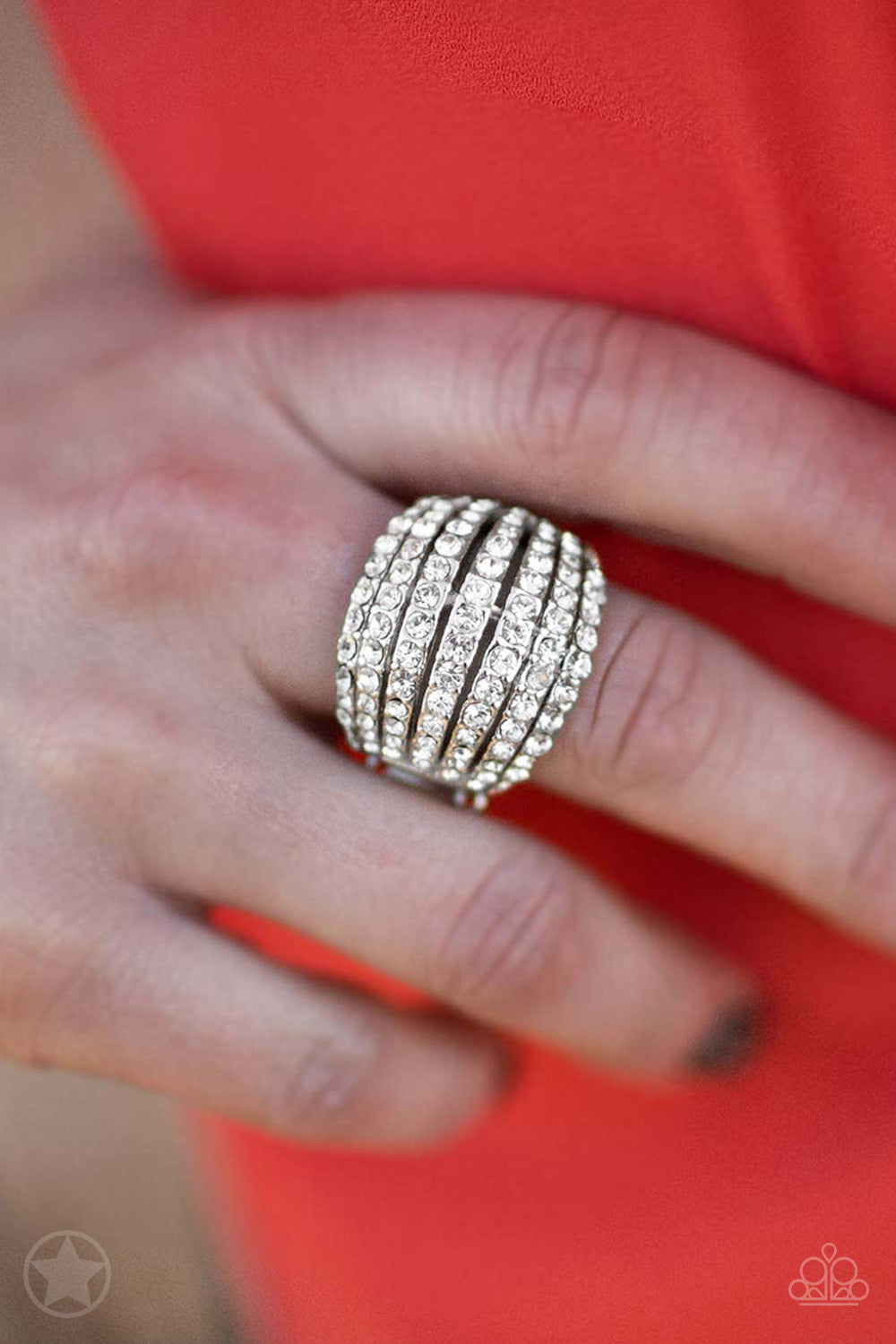 Blinding Brilliance - White Rhinestone Blockbuster Paparazzi Jewelry Ring paparazzi accessories jewelry Ring