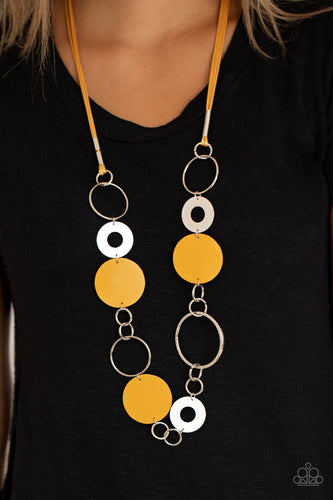 Paparazzi Jewelry & Accessories - Sooner or Leather - Yellow Necklace. Bling By Titia Boutique