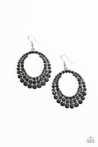 Universal Shimmer - Silver Hematite Rhinestones Life Of The Party Paparazzi Jewelry Earrings paparazzi accessories jewelry Earrings