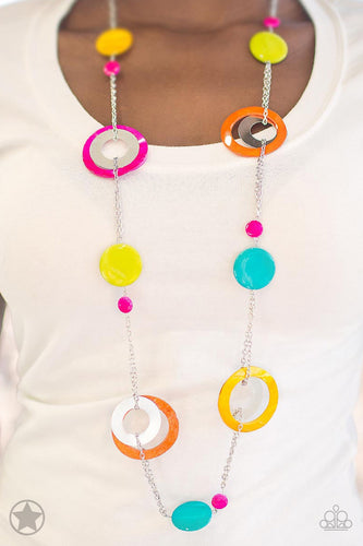 Kaleidoscopically Captivating - Pink Yellow Blue Orange Blockbuster Paparazzi Jewelry Necklace paparazzi accessories jewelry Necklaces