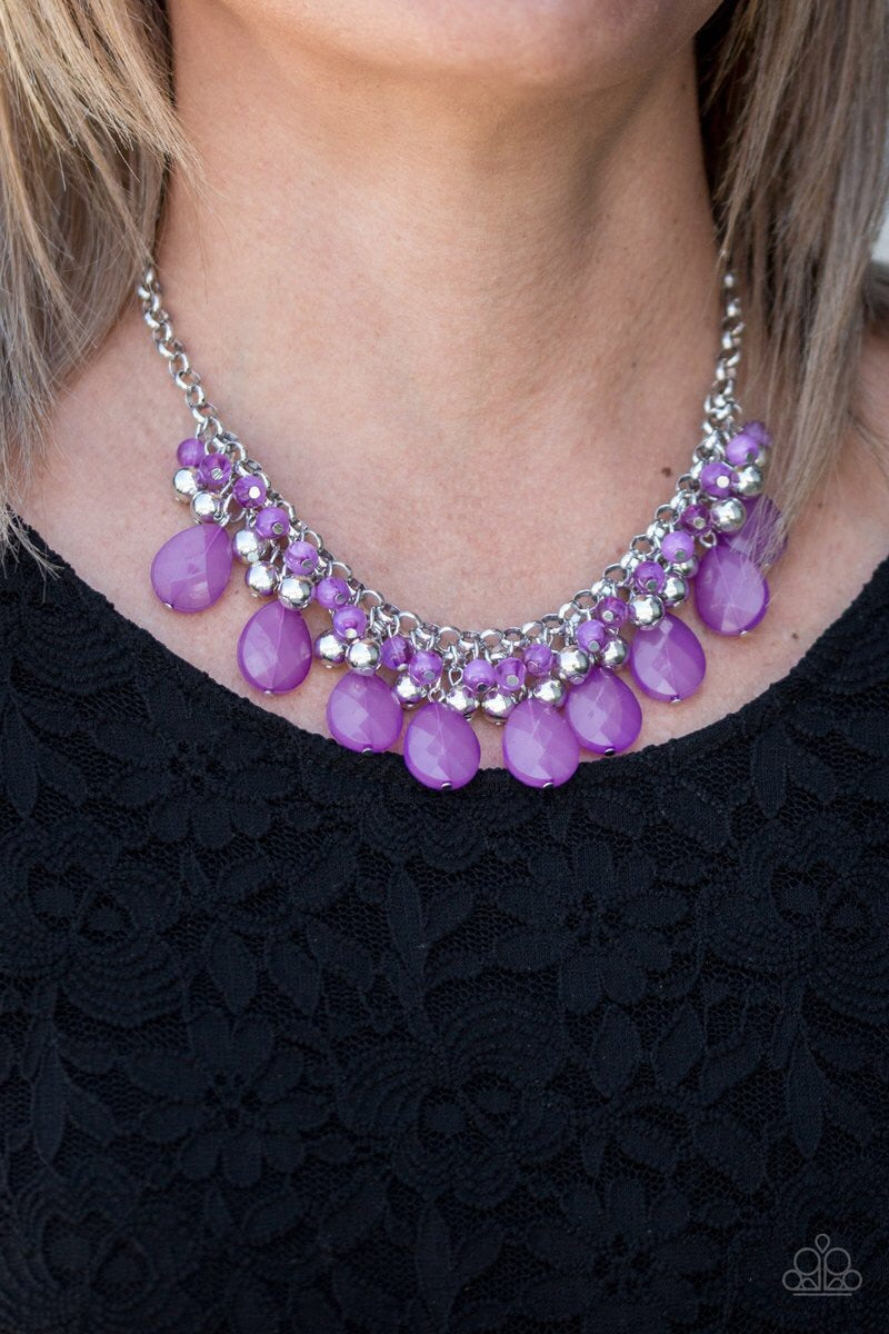 buy Trending Tropicana - Purple Bead Paparazzi Jewelry Necklace onlineNecklacesbeads, bold, cascade, chain, cloudy, dramatic, fringe, necklace, paparazzi, paparazzi jewelry, purple, shiny, silver, spring, spring time, summer, summer spotlight, summery, teardrops