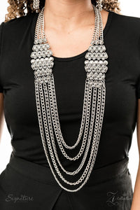 buy The Erika - Silver Hematite Rhinestones 2019 Signature Zi Collection Paparazzi Jewelry Necklace onlineNecklaces2019, bling, bold, bride, chains, formal, gems, glamour, grunge, hematite, One Life, paparazzi, paparazzi jewelry, prom, rhinestones, sliver, smoky, teardrop, Zi Collection