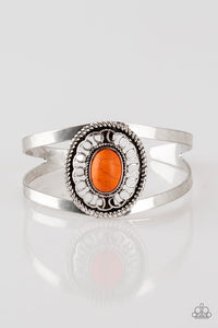 buy Deep in The TUMBLEWEEDS - Orange Paparazzi Jewelry Bracelet onlineBraceletantique, bracelet, cuff, orange, paparazzi, paparazzi jewelry, silver, spring, spring time, stone, summer, summery