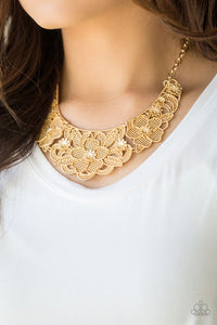 Petunia Paradise - Gold Paparazzi Jewelry Necklace paparazzi accessories jewelry Necklaces