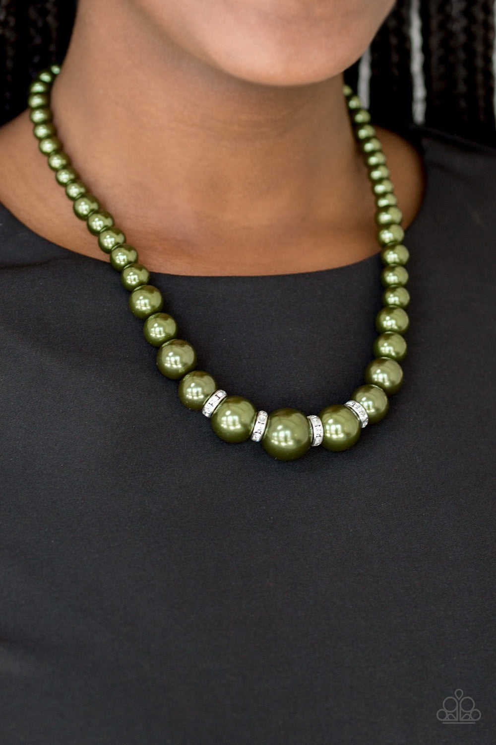 buy Party Pearls - Green Pearl Paparazzi Jewelry Necklace onlineNecklacesaffordable, bling, dainty, dazzling, glittery, green, love, mothers day, necklace, paparazzi, pearls, rhinestones