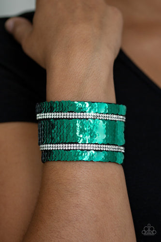 Mermaid Service - Green Reversible Paparazzi Jewelry Bracelet paparazzi accessories jewelry Bracelet