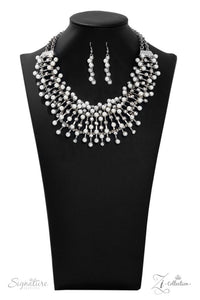 The Leanne - Silver Rhinestone 2019 Signature Zi Collection Paparazzi Jewelry Necklace paparazzi accessories jewelry Necklaces