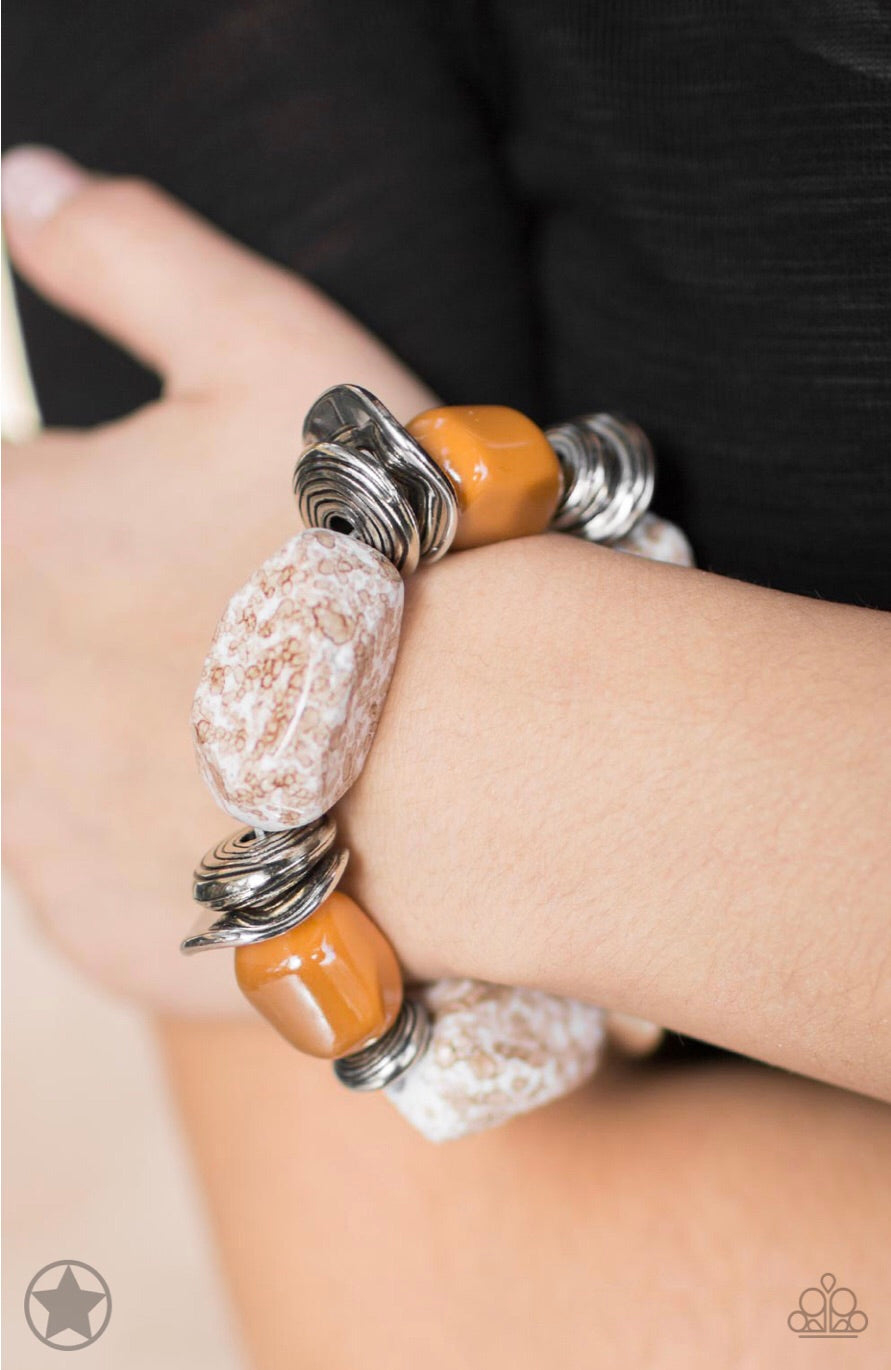 Glaze of Glory - Peach Blockbuster Paparazzi Jewelry Bracelet paparazzi accessories jewelry Bracelet