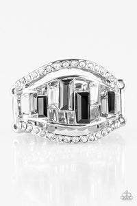 buy Treasure Chest Charm - Black Rhinestone Paparazzi Jewerly Ring onlineRingaffordable, black, Bling, bridal, bride, emerald cut, formal, gray, paparazzi, prom, rhinestones, ring, stretchy, stretchy band, unique, wedding, wedding party, white, white stone