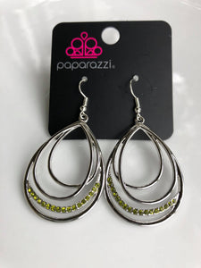 Start Each Day With Sparkle - Green Rhinestone Paparazzi Jewelry Earrings paparazzi accessories jewelry Earrings