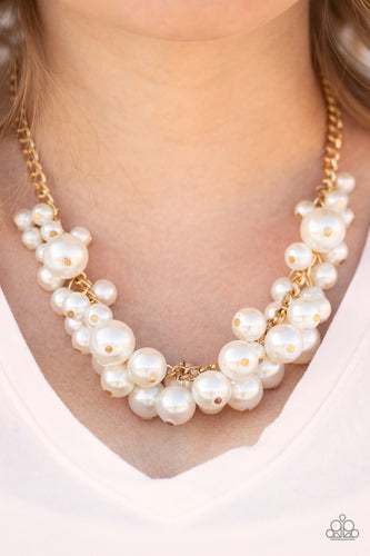 Glam Queen - Gold Pearl Paparazzi Jewelry Necklace paparazzi accessories jewelry Necklaces