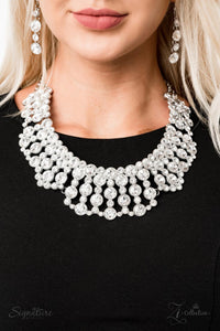 buy The Heather - Rhinestone 2019 Signature Zi Collection Paparazzi Jewelry Necklace onlineNecklacesbling, bridal, bridal party, bride, formal, One Life, paparazzi, paparazzi jewelry, posh, prom, rhinestones, signature, silver, vintage, wedding, wedding party, white, zi, Zi Collection