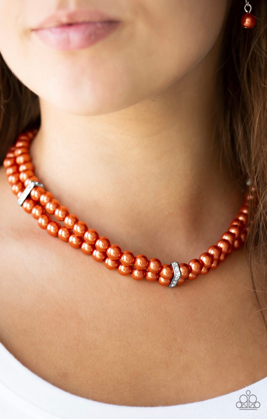 Put On Your Party Dress - Orange Pearl Paparazzi Jewelry Necklace paparazzi accessories jewelry Necklaces