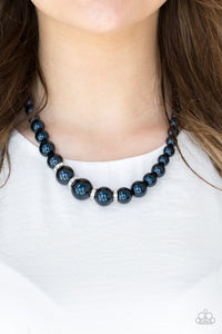 Party Pearls - Blue Pearl with Rhinestone Paparazzi Jewelry Necklace paparazzi accessories jewelry Necklaces