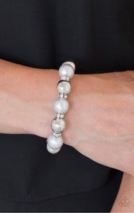 So Not Sorry - Silver Pearl and Rhinestone Paparazzi Jewelry Bracelet paparazzi accessories jewelry Bracelet