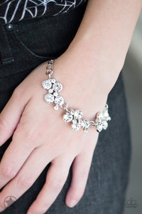 Old Hollywood - White Rhinestone Blockbuster Paparazzi Jewelry Bracelet paparazzi accessories jewelry Bracelet